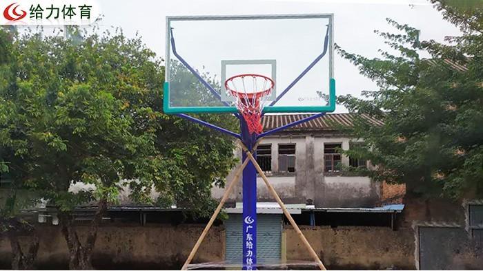 篮球架一对要多少钱广东给力体育为三水区南岸村安装篮球架