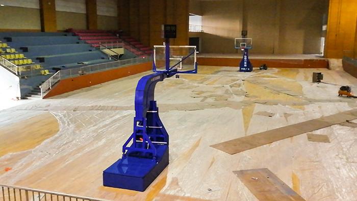 给力体育仿CBA篮球架亮相三水沙围村党群服务站升级体验