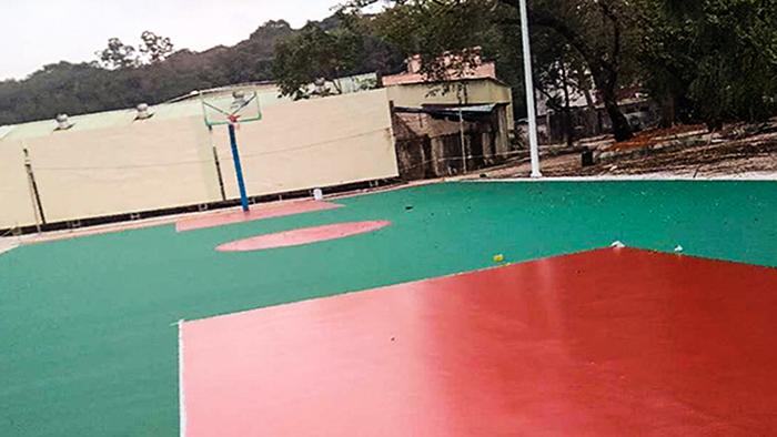 佛山市三水区蚺蛇村与给力体育携手共创丙烯酸球场篮球架落地而成