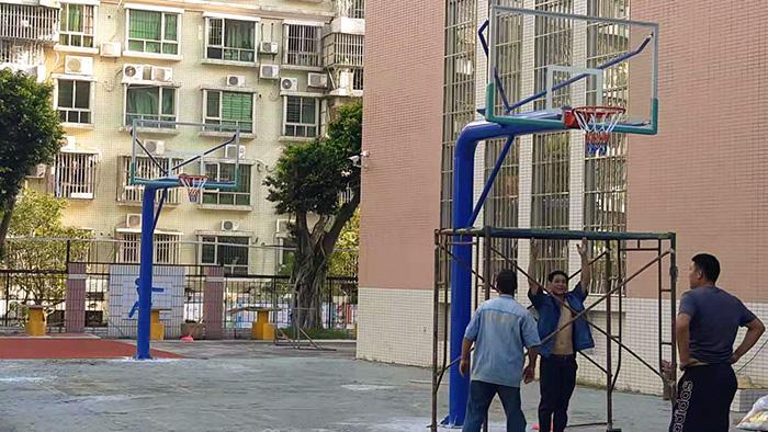 佛山市南海区海景花园固定篮球架更换给力体育厂家进驻