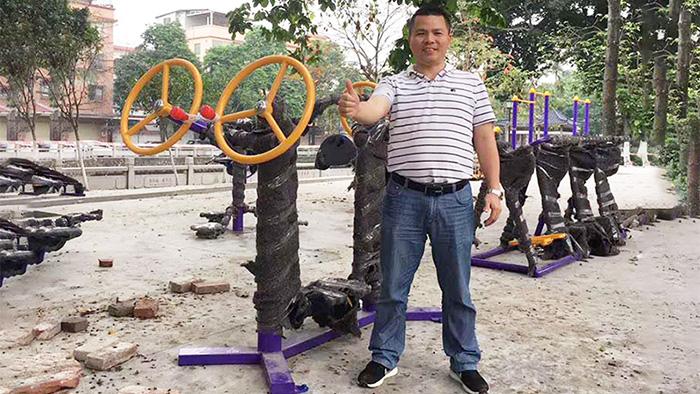 江门户外健身器材安装古井村如期使用