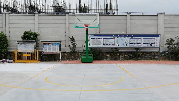 鹤山市龙口镇湴蓼村委会埋地篮球架完美收工